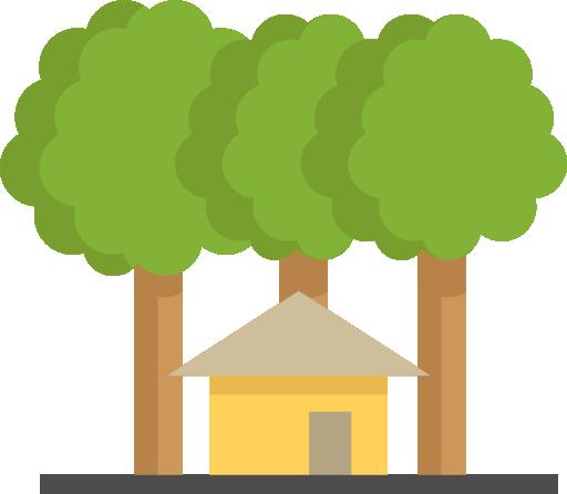animation af hus med træer