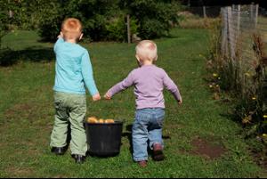 billede af to børn der holder en spand