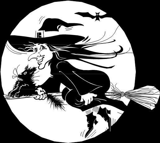 heks med kost, flagermus og kat, logo