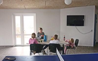 familie sidder og hygger, bordtennisbord kan anes